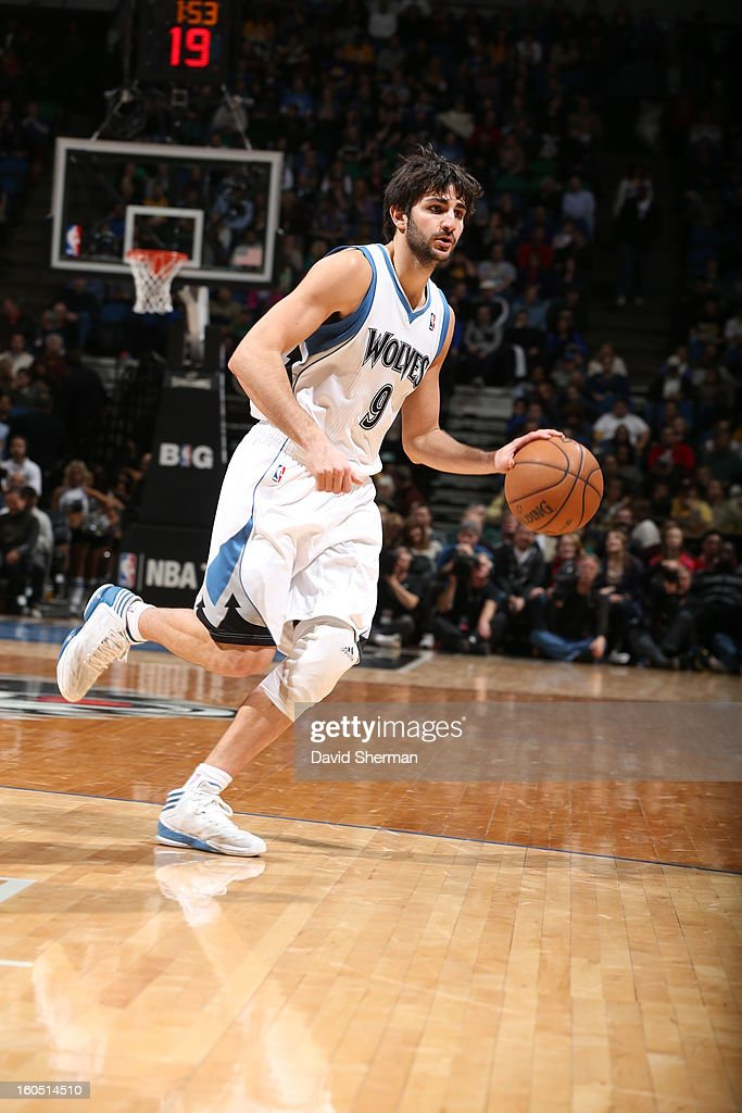 Ricky Rubio #9 of the Minnesota Timberwolves dribbles the ball against the Los Angeles Lakers during the game on February 1, 2013 at Target Center in Minneapolis, Minnesota.