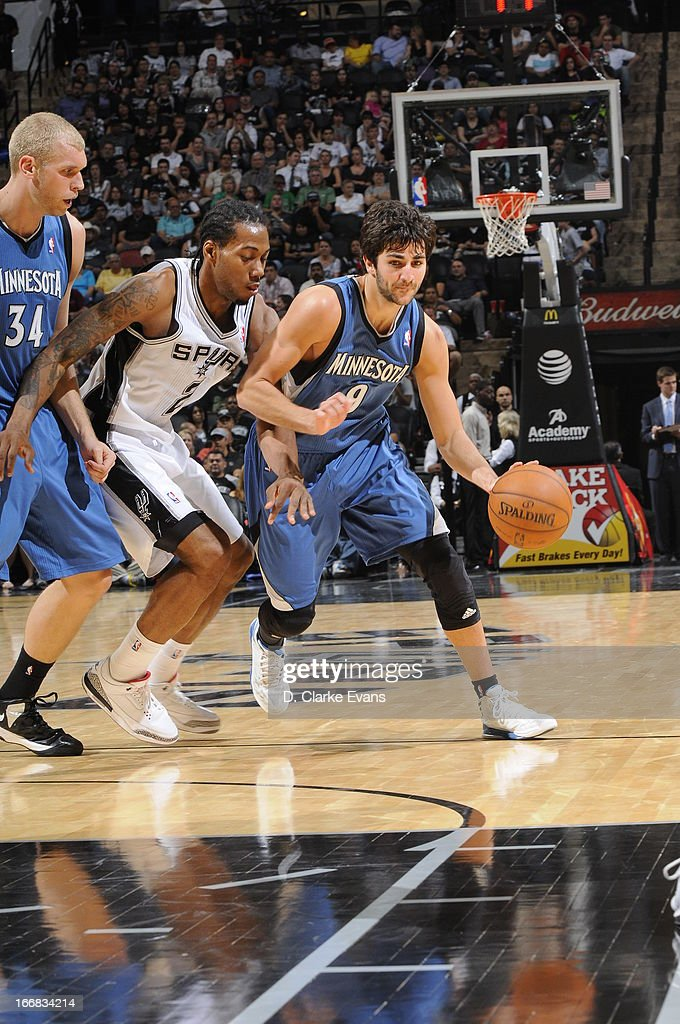 Ricky Rubio #9 of the Minnesota Timberwolves dribbles the ball against the San Antonio Spurs on April 17, 2013 at the AT&T Center in San Antonio, Texas.