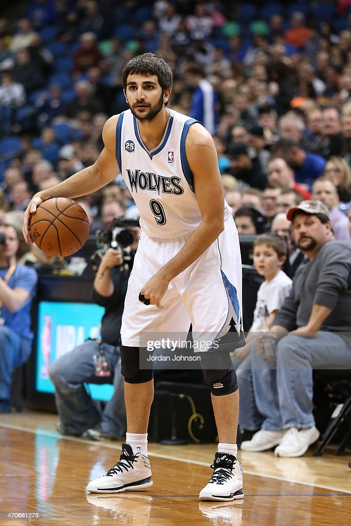 <a gi-track='captionPersonalityLinkClicked' href=/galleries/search?phrase=Ricky+Rubio&family=editorial&specificpeople=4028920 ng-click='$event.stopPropagation()'>Ricky Rubio</a> #9 of the Minnesota Timberwolves dribbles the ball against the Indiana Pacers on February 19, 2014 at Target Center in Minneapolis, Minnesota.