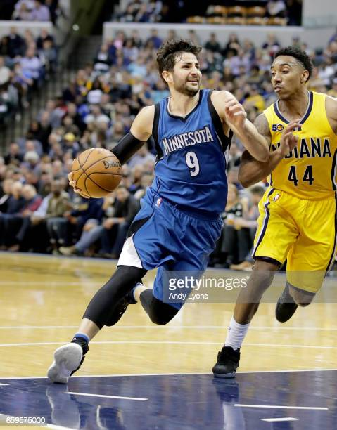 Ricky Rubio of the Minnesota Timberwolves dribbles the ball against the Indiana Pacers at Bankers Life Fieldhouse on March 28 2017 in Indianapolis...