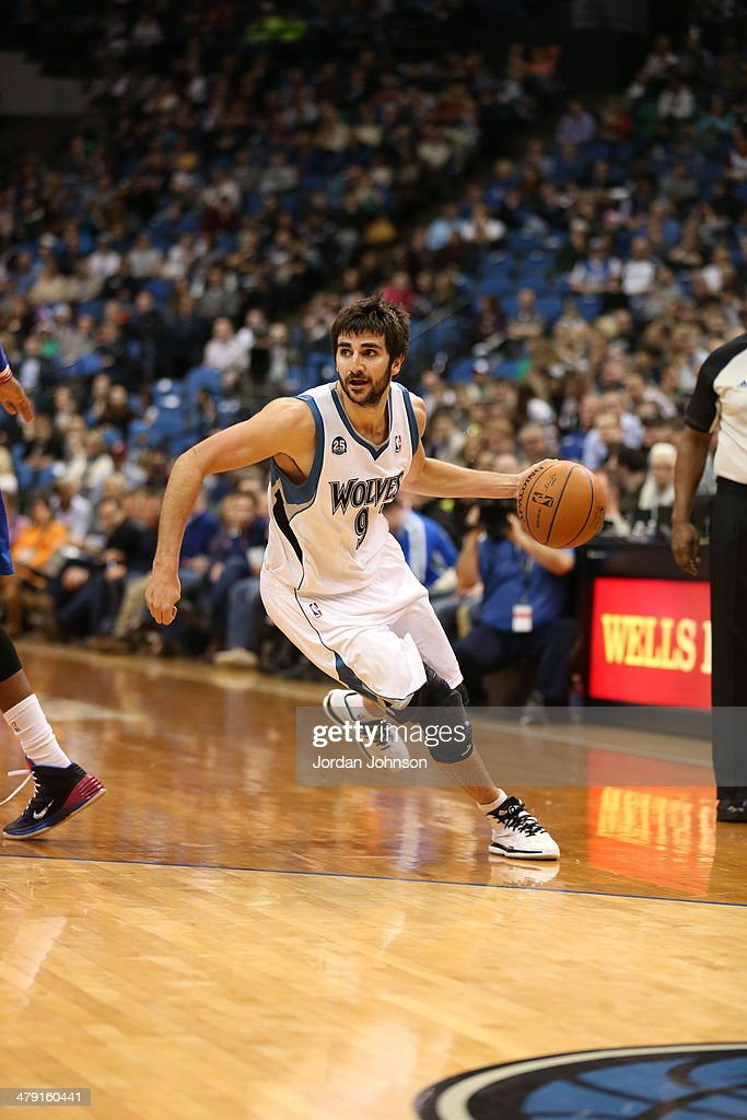 <a gi-track='captionPersonalityLinkClicked' href=/galleries/search?phrase=Ricky+Rubio&family=editorial&specificpeople=4028920 ng-click='$event.stopPropagation()'>Ricky Rubio</a> #9 of the Minnesota Timberwolves dribbles the ball during the game against the Detroit Pistons on March 7, 2014 at Target Center in Minneapolis, Minnesota.