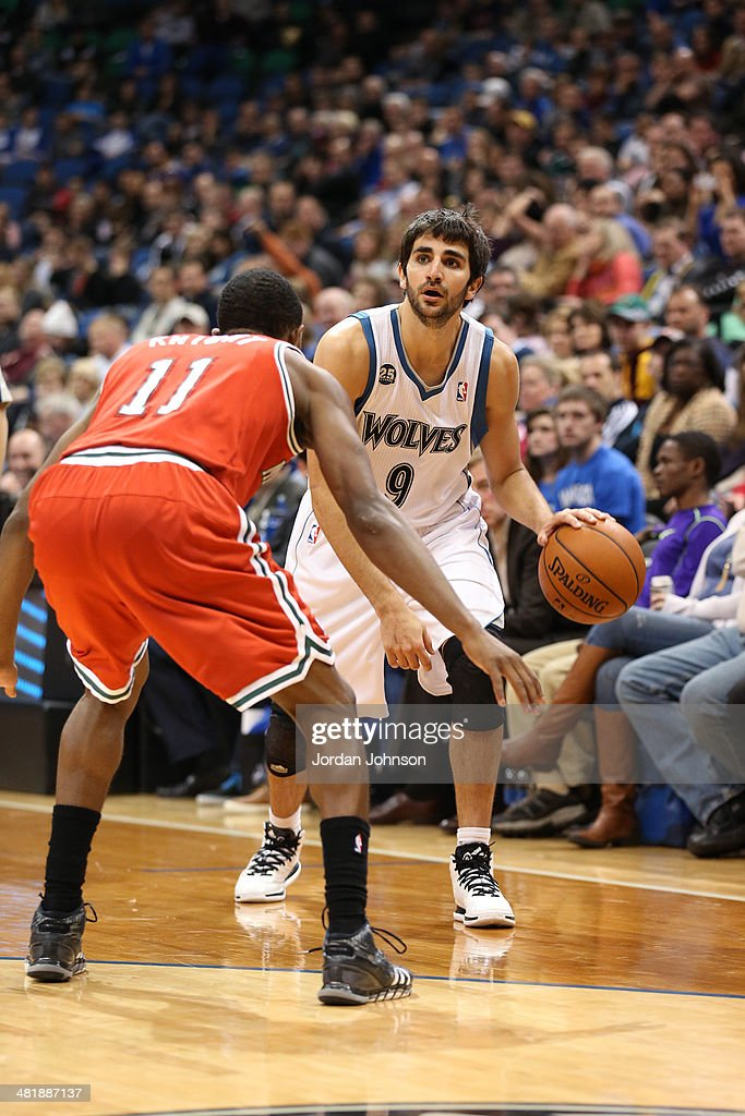<a gi-track='captionPersonalityLinkClicked' href=/galleries/search?phrase=Ricky+Rubio&family=editorial&specificpeople=4028920 ng-click='$event.stopPropagation()'>Ricky Rubio</a> #9 of the Minnesota Timberwolves dribbles the ball during the game against the Milwaukee Bucks on March 11, 2014 at Target Center in Minneapolis, Minnesota.