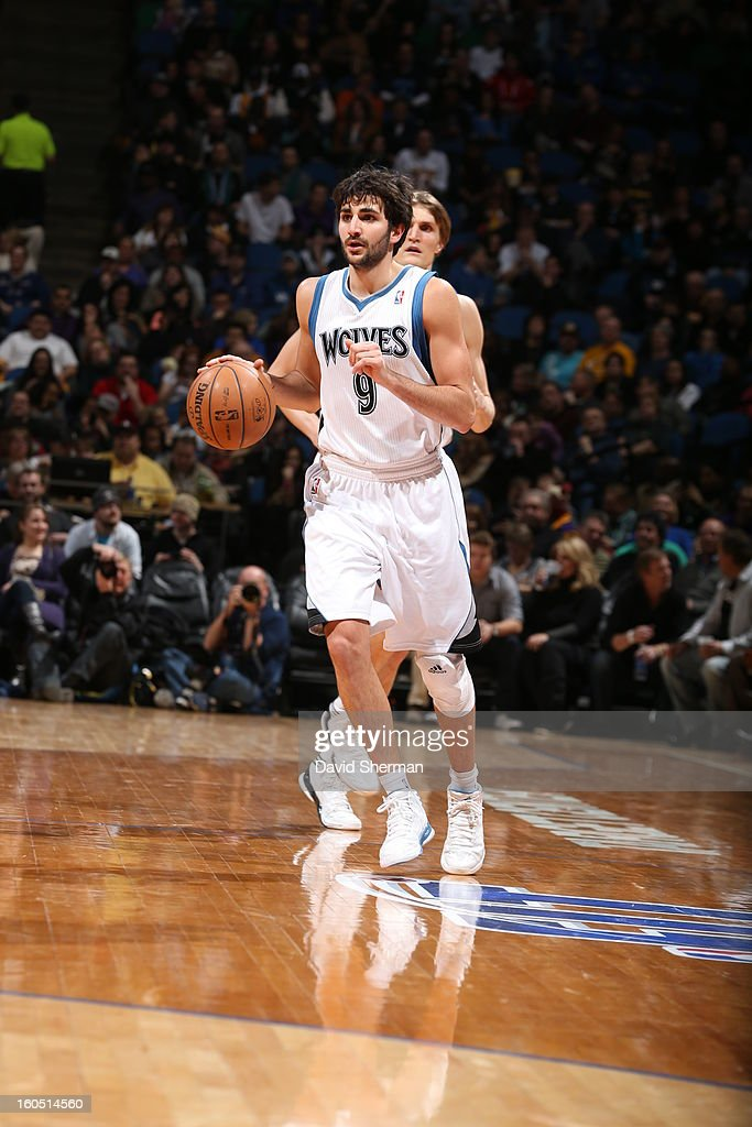 Ricky Rubio #9 of the Minnesota Timberwolves dribbles the ball up the court against the Los Angeles Lakers during the game on February 1, 2013 at Target Center in Minneapolis, Minnesota.