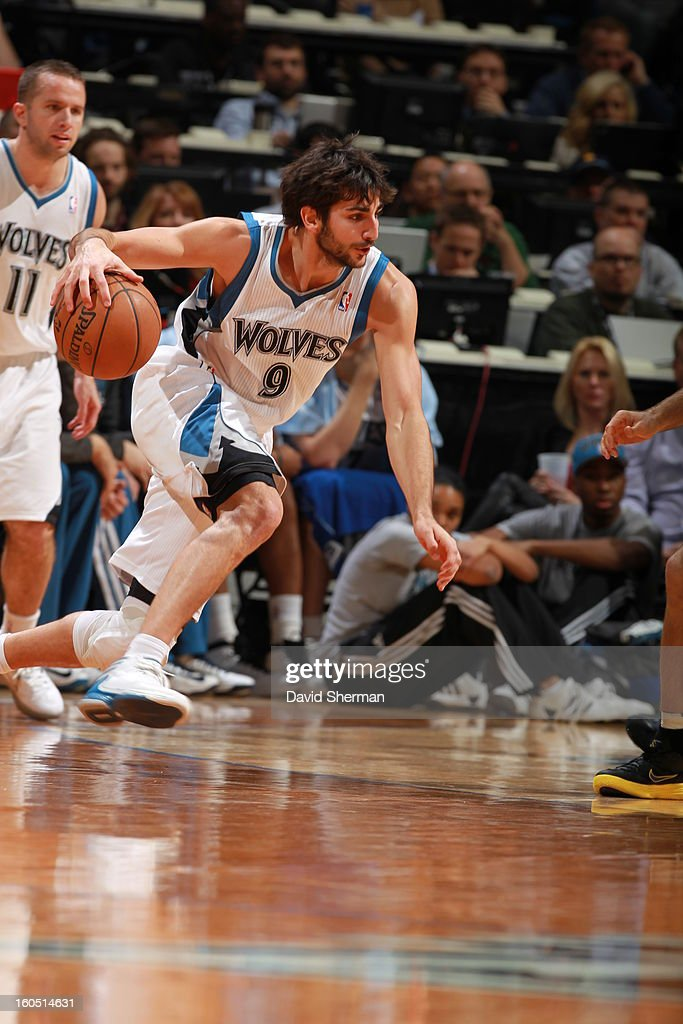 <a gi-track='captionPersonalityLinkClicked' href=/galleries/search?phrase=Ricky+Rubio&family=editorial&specificpeople=4028920 ng-click='$event.stopPropagation()'>Ricky Rubio</a> #9 of the Minnesota Timberwolves dribbles the ball up the court against the Los Angeles Lakers during the game on February 1, 2013 at Target Center in Minneapolis, Minnesota.