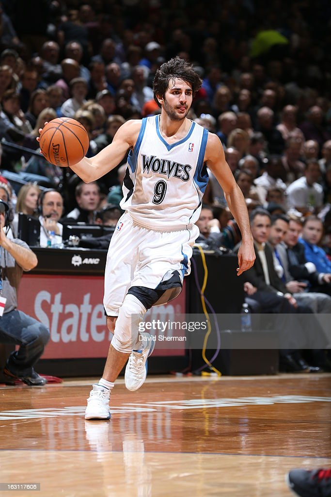 Ricky Rubio #9 of the Minnesota Timberwolves dribbles the ball up the floor against the Miami Heat during the game on March 4, 2013 at Target Center in Minneapolis, Minnesota.
