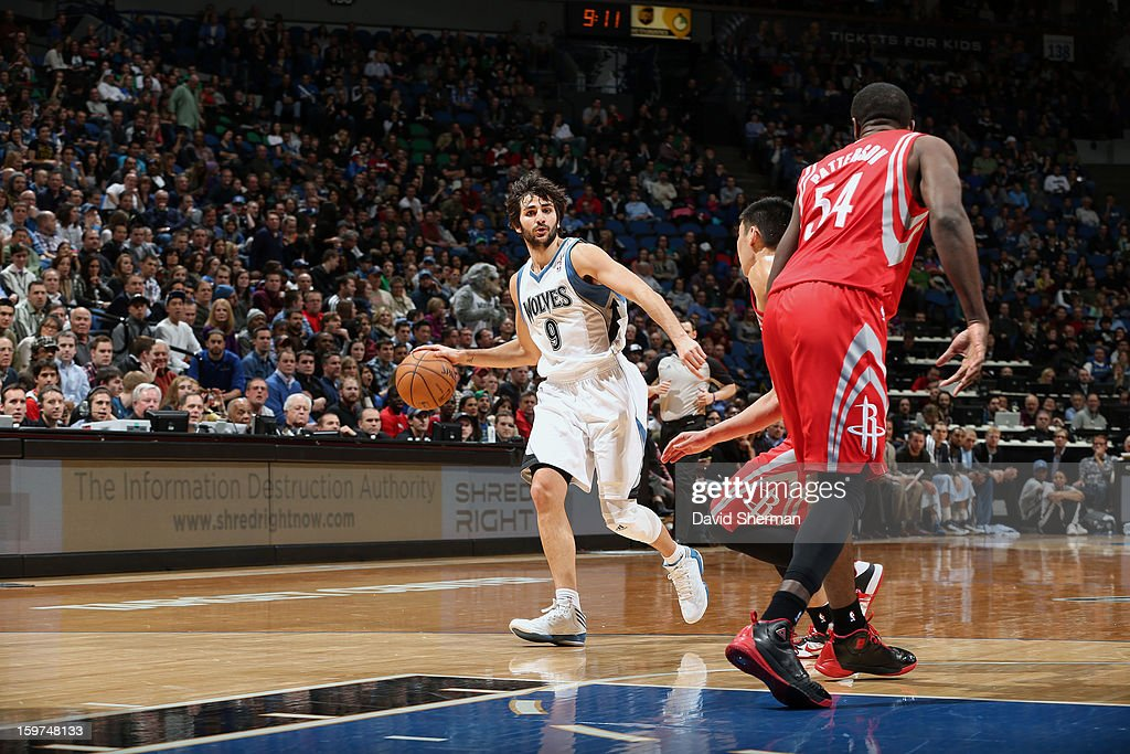 Ricky Rubio #9 of the Minnesota Timberwolves dribbles the ball while looking to pass against the Houston Rockets during the game on January 19, 2013 at Target Center in Minneapolis, Minnesota.