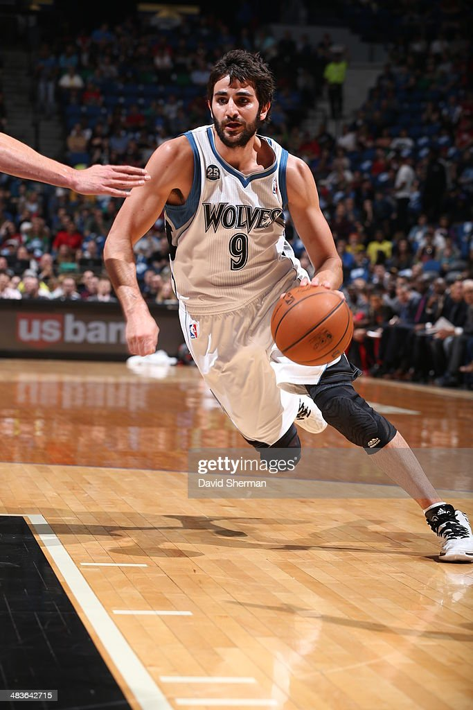 Ricky Rubio #9 of the Minnesota Timberwolves dribbles up the court against the Chicago Bulls during the game on April 9, 2014 at Target Center in Minneapolis, Minnesota.