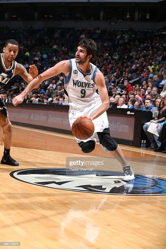 Ricky Rubio #9 of the Minnesota Timberwolves dribbles up the court against the Utah Jazz during the game on April 16, 2014 at Target Center in Minneapolis, Minnesota.