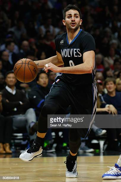 Ricky Rubio of the Minnesota Timberwolves dribbles upcourt during the first half of a game against the Los Angeles Clippers at Staples Center on...