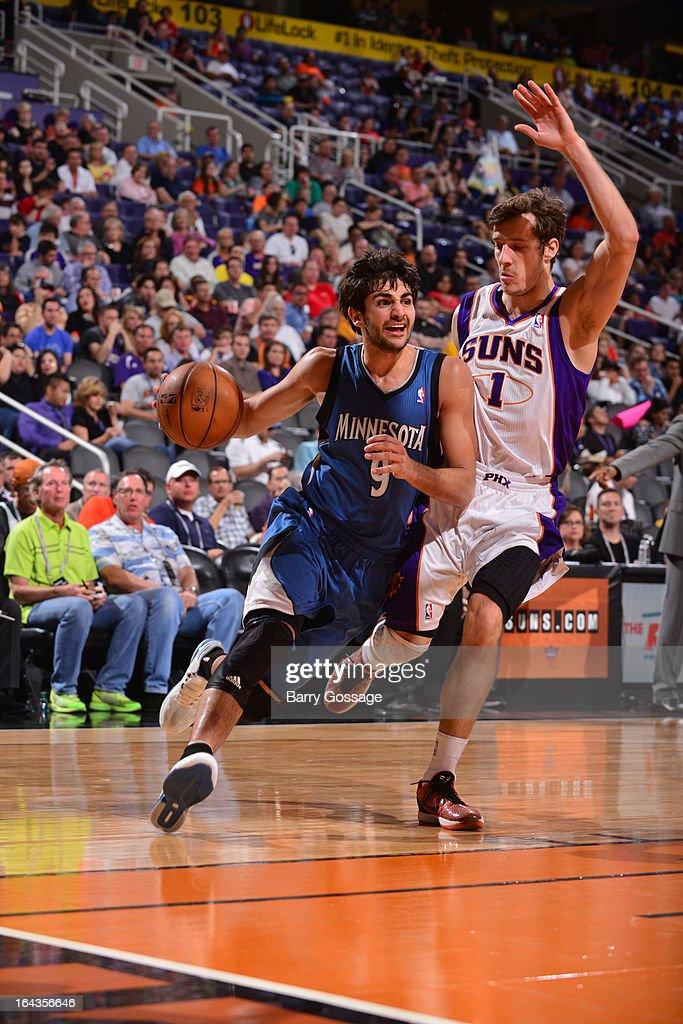 Ricky Rubio #9 of the Minnesota Timberwolves drives against Goran Dragic #1 of the Phoenix Suns on March 22, 2013 at U.S. Airways Center in Phoenix, Arizona.