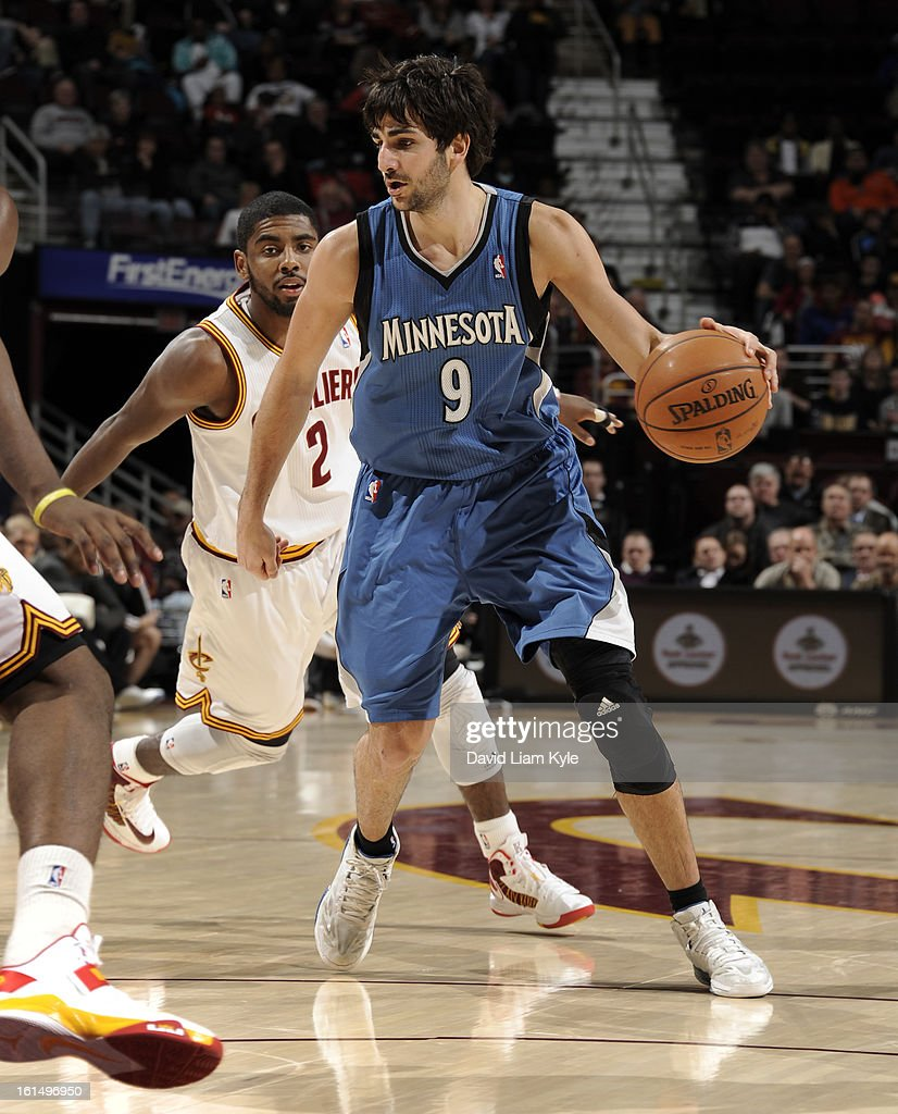 Ricky Rubio #9 of the Minnesota Timberwolves drives against Kyrie Irving #2 of the Cleveland Cavaliers at The Quicken Loans Arena on February 11, 2013 in Cleveland, Ohio.