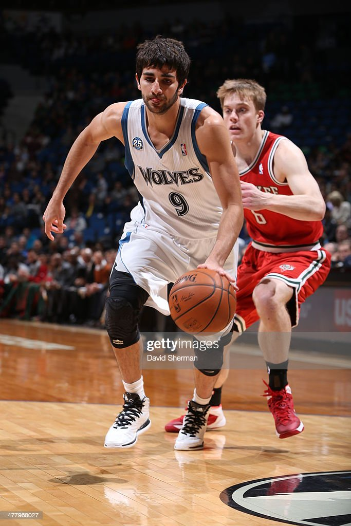 Ricky Rubio #9 of the Minnesota Timberwolves drives against the Milwaukee Bucks on March 11, 2014 at Target Center in Minneapolis, Minnesota.