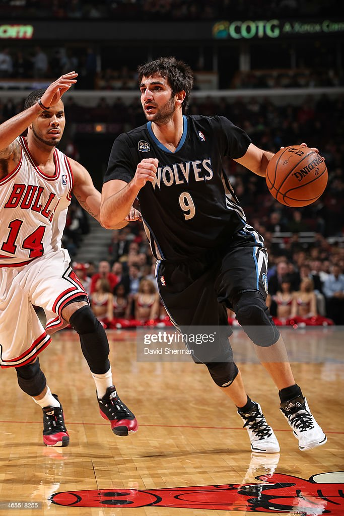 Ricky Rubio #9 of the Minnesota Timberwolves drives against the Chicago Bulls on January 27, 2014 at the United Center in Chicago, Illinois.
