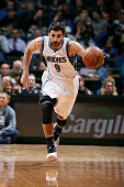 Ricky Rubio of the Minnesota Timberwolves drives against the Denver Nuggets on March 4 2015 at Target Center in Minneapolis Minnesota NOTE TO USER...