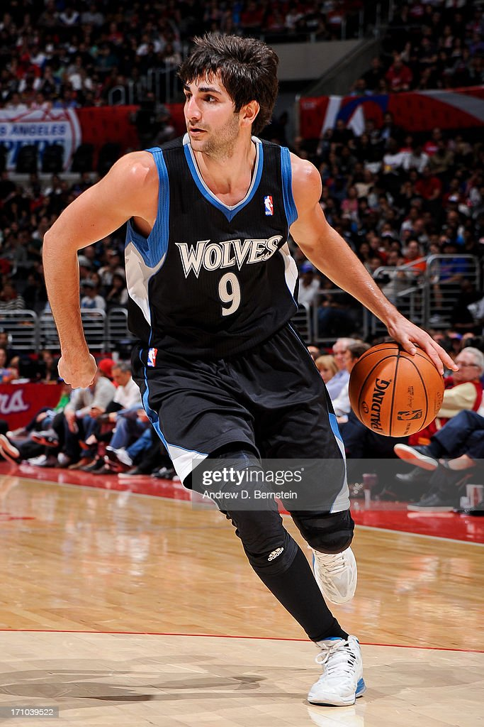 <a gi-track='captionPersonalityLinkClicked' href=/galleries/search?phrase=Ricky+Rubio&family=editorial&specificpeople=4028920 ng-click='$event.stopPropagation()'>Ricky Rubio</a> #9 of the Minnesota Timberwolves drives against the Los Angeles Clippers at Staples Center on April 10, 2013 in Los Angeles, California.