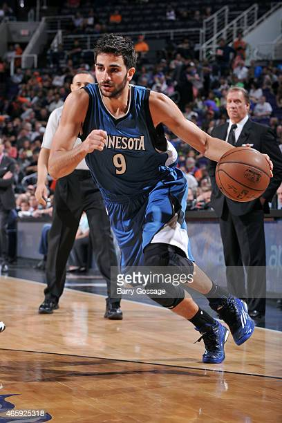 Ricky Rubio of the Minnesota Timberwolves drives against the Phoenix Suns on March 11 2015 at US Airways Center in Phoenix Arizona NOTE TO USER User...