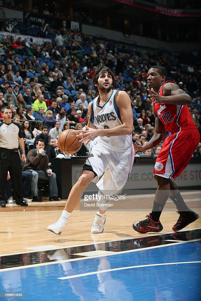Ricky Rubio #9 of the Minnesota Timberwolves drives baseline against the Los Angeles Clippers during the game on January 17, 2013 at Target Center in Minneapolis, Minnesota.
