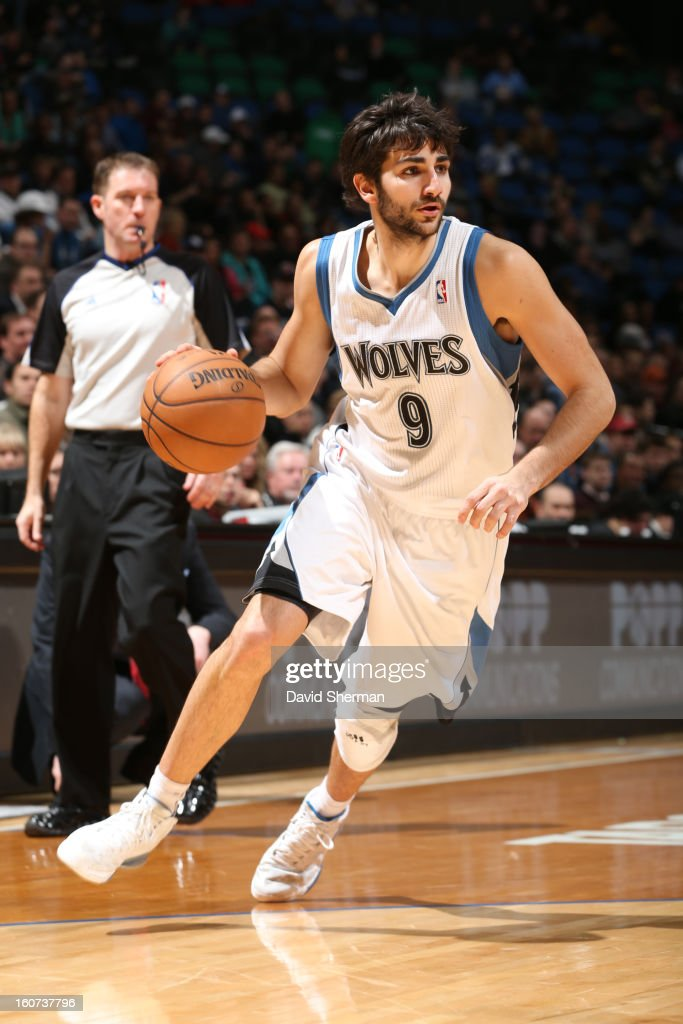 <a gi-track='captionPersonalityLinkClicked' href=/galleries/search?phrase=Ricky+Rubio&family=editorial&specificpeople=4028920 ng-click='$event.stopPropagation()'>Ricky Rubio</a> #9 of the Minnesota Timberwolves drives during the game between the Minnesota Timberwolves and the Portland Trail Blazers on February 4, 2013 at Target Center in Minneapolis, Minnesota.