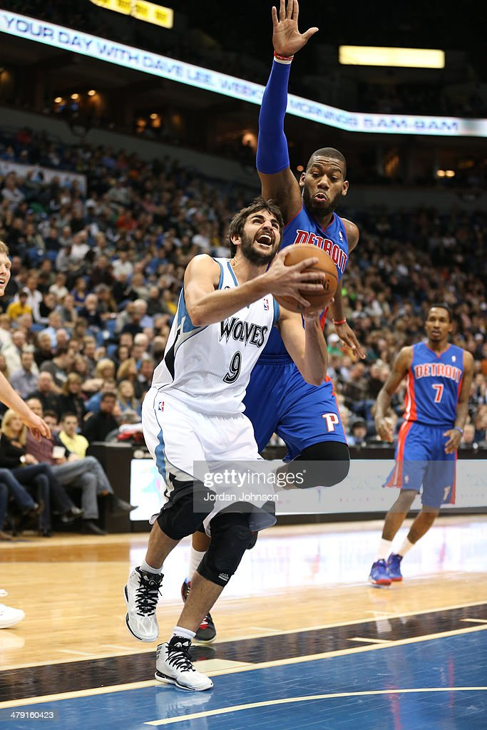 <a gi-track='captionPersonalityLinkClicked' href=/galleries/search?phrase=Ricky+Rubio&family=editorial&specificpeople=4028920 ng-click='$event.stopPropagation()'>Ricky Rubio</a> #9 of the Minnesota Timberwolves drives to the basket during the game against the Detroit Pistons on March 7, 2014 at Target Center in Minneapolis, Minnesota.