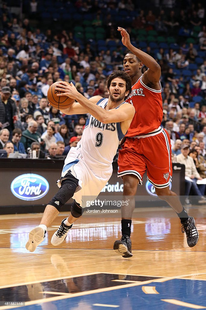 Ricky Rubio #9 of the Minnesota Timberwolves drives to the basket during the game against the Milwaukee Bucks on March 11, 2014 at Target Center in Minneapolis, Minnesota.