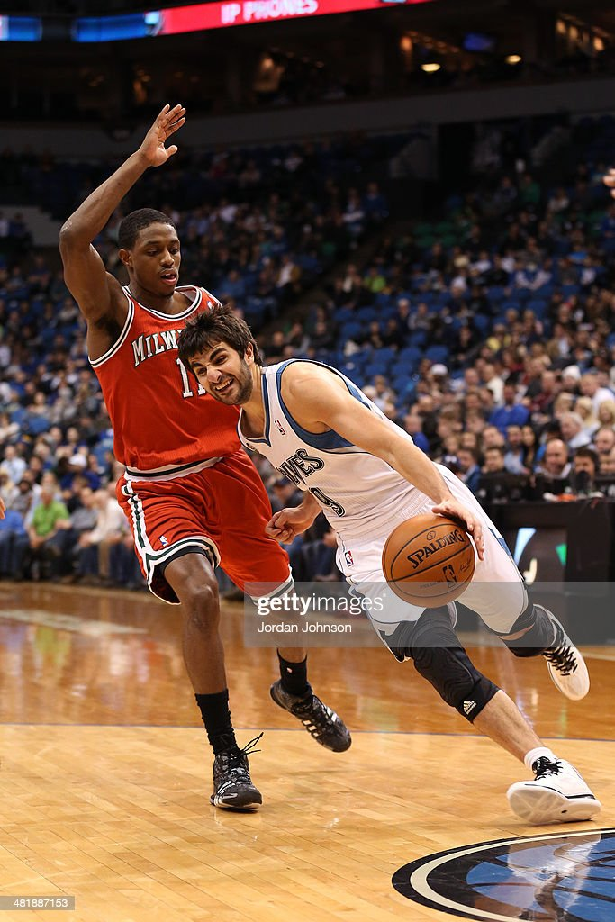 <a gi-track='captionPersonalityLinkClicked' href=/galleries/search?phrase=Ricky+Rubio&family=editorial&specificpeople=4028920 ng-click='$event.stopPropagation()'>Ricky Rubio</a> #9 of the Minnesota Timberwolves drives to the basket during the game against the Milwaukee Bucks on March 11, 2014 at Target Center in Minneapolis, Minnesota.