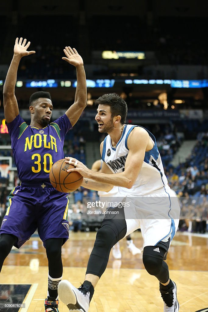 <a gi-track='captionPersonalityLinkClicked' href=/galleries/search?phrase=Ricky+Rubio&family=editorial&specificpeople=4028920 ng-click='$event.stopPropagation()'>Ricky Rubio</a> #9 of the Minnesota Timberwolves drives to the basket during the game against the New Orleans Pelicans on February 8, 2016 at Target Center in Minneapolis, Minnesota.