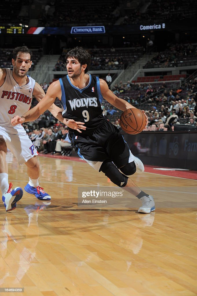 <a gi-track='captionPersonalityLinkClicked' href=/galleries/search?phrase=Ricky+Rubio&family=editorial&specificpeople=4028920 ng-click='$event.stopPropagation()'>Ricky Rubio</a> #9 of the Minnesota Timberwolves drives to the basket against <a gi-track='captionPersonalityLinkClicked' href=/galleries/search?phrase=Jose+Calderon&family=editorial&specificpeople=548297 ng-click='$event.stopPropagation()'>Jose Calderon</a> #8 of the Detroit Pistons during the game on March 26, 2013 at The Palace of Auburn Hills in Auburn Hills, Michigan.
