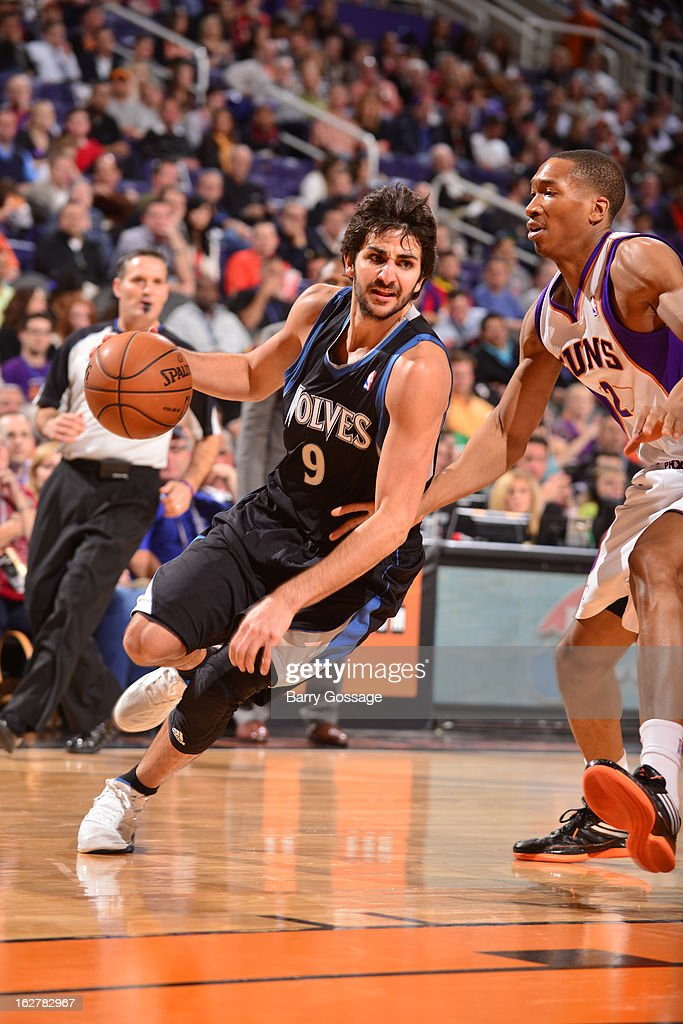 <a gi-track='captionPersonalityLinkClicked' href=/galleries/search?phrase=Ricky+Rubio&family=editorial&specificpeople=4028920 ng-click='$event.stopPropagation()'>Ricky Rubio</a> #9 of the Minnesota Timberwolves drives to the basket against <a gi-track='captionPersonalityLinkClicked' href=/galleries/search?phrase=Wesley+Johnson+-+Basketball+Player&family=editorial&specificpeople=4184049 ng-click='$event.stopPropagation()'>Wesley Johnson</a> #2 of the Phoenix Suns on February 26, 2013 at U.S. Airways Center in Phoenix, Arizona.