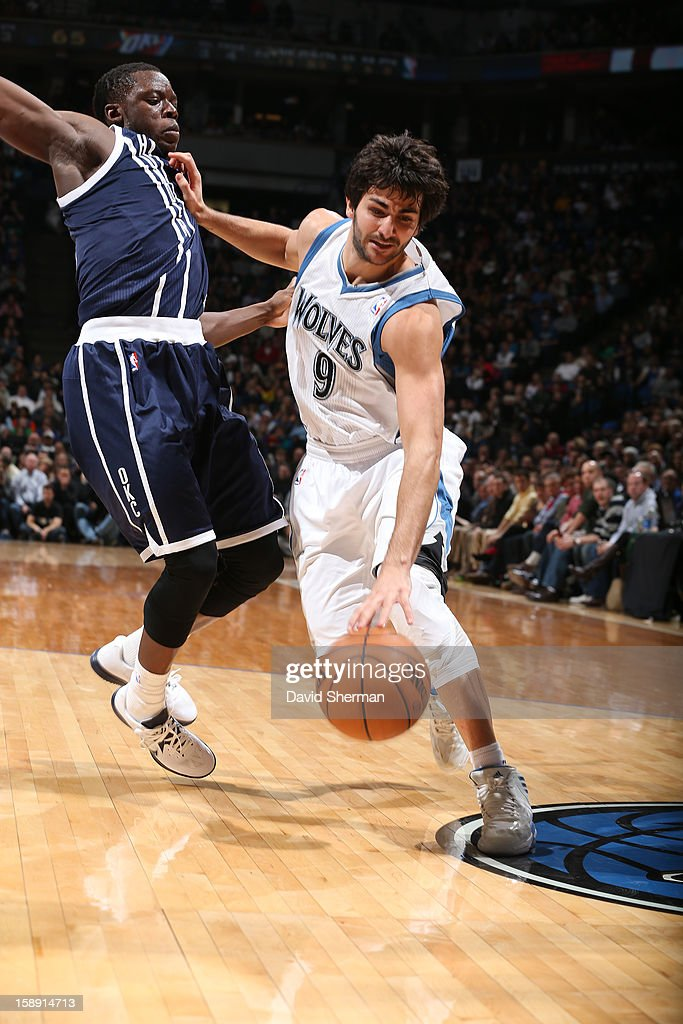 <a gi-track='captionPersonalityLinkClicked' href=/galleries/search?phrase=Ricky+Rubio&family=editorial&specificpeople=4028920 ng-click='$event.stopPropagation()'>Ricky Rubio</a> #9 of the Minnesota Timberwolves drives to the basket against the Oklahoma City Thunder on December 20, 2012 at Target Center in Minneapolis, Minnesota.