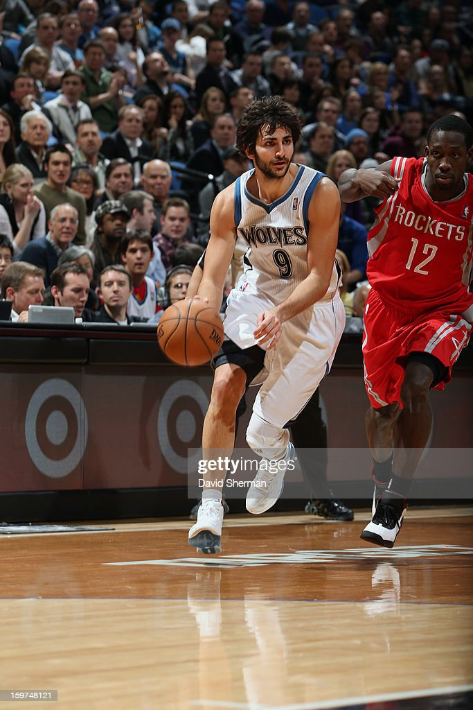 Ricky Rubio #9 of the Minnesota Timberwolves drives to the basket against the Houston Rockets during the game on January 19, 2013 at Target Center in Minneapolis, Minnesota.