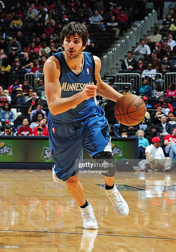 Ricky Rubio #9 of the Minnesota Timberwolves drives to the basket against the Atlanta Hawks on January 21, 2013 at Philips Arena in Atlanta, Georgia.