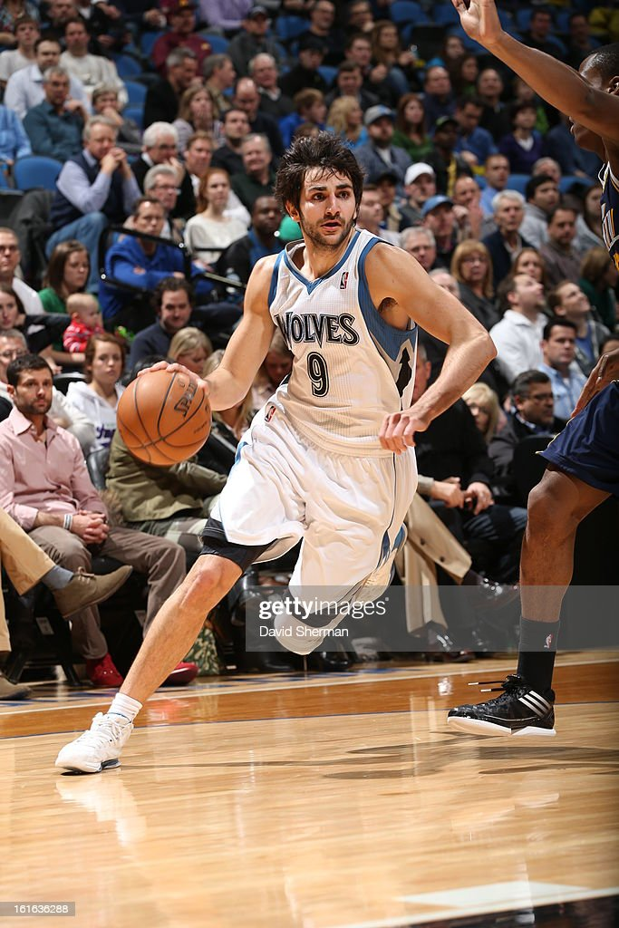 Ricky Rubio #9 of the Minnesota Timberwolves drives to the basket against the Utah Jazz on February 13, 2013 at Target Center in Minneapolis, Minnesota.