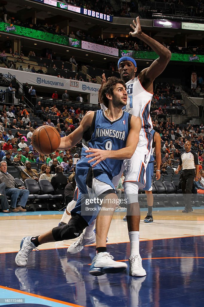 Ricky Rubio #9 of the Minnesota Timberwolves drives to the basket against the Charlotte Bobcats at the Time Warner Cable Arena on January 26, 2013 in Charlotte, North Carolina.
