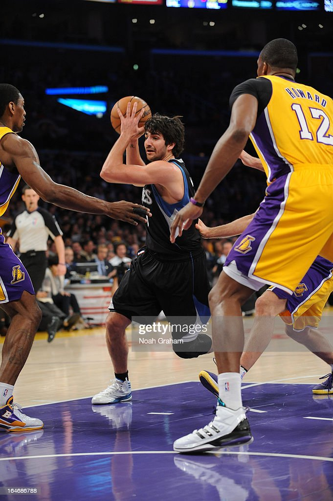 <a gi-track='captionPersonalityLinkClicked' href=/galleries/search?phrase=Ricky+Rubio&family=editorial&specificpeople=4028920 ng-click='$event.stopPropagation()'>Ricky Rubio</a> #9 of the Minnesota Timberwolves drives to the basket against the Los Angeles Lakers at Staples Center on February 28, 2013 in Los Angeles, California.
