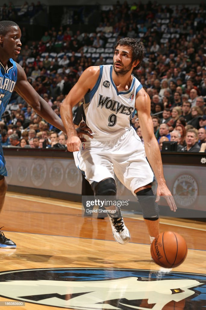 Ricky Rubio #9 of the Minnesota Timberwolves drives to the basket against the Orlando Magic during the season and home opening game on October 30, 2013 at Target Center in Minneapolis, Minnesota.