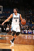 Ricky Rubio of the Minnesota Timberwolves drives to the basket against the Philadelphia 76ers during the game on October 10 2014 at Target Center in...