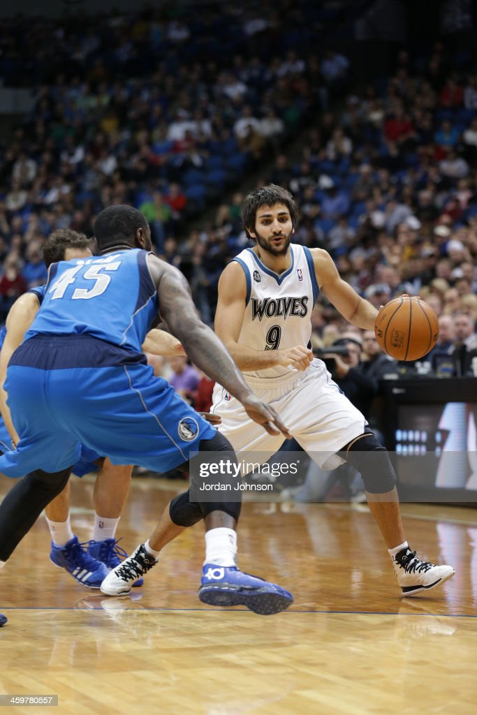 <a gi-track='captionPersonalityLinkClicked' href=/galleries/search?phrase=Ricky+Rubio&family=editorial&specificpeople=4028920 ng-click='$event.stopPropagation()'>Ricky Rubio</a> #9 of the Minnesota Timberwolves drives to the basket against the Dallas Mavericks on November 8, 2013 at Target Center in Minneapolis, Minnesota.