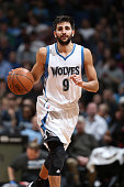 Ricky Rubio of the Minnesota Timberwolves drives to the basket against the Portland Trail Blazers during the game on March 7 2015 at Target Center in...