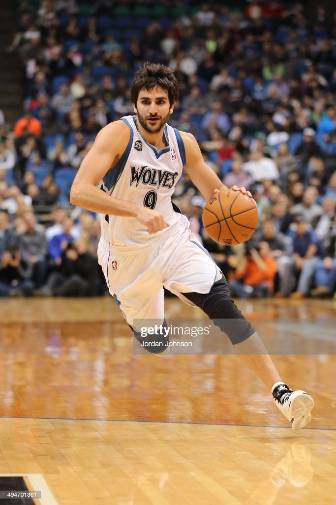 <a gi-track='captionPersonalityLinkClicked' href=/galleries/search?phrase=Ricky+Rubio&family=editorial&specificpeople=4028920 ng-click='$event.stopPropagation()'>Ricky Rubio</a> #9 of the Minnesota Timberwolves drives to the basket against the Utah Jazz on April 16, 2014 at Target Center in Minneapolis, Minnesota.
