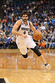 Ricky Rubio of the Minnesota Timberwolves drives to the basket against the Utah Jazz on April 16 2014 at Target Center in Minneapolis Minnesota NOTE...