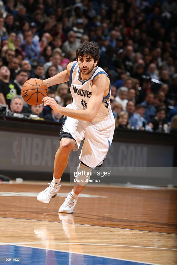 Ricky Rubio #9 of the Minnesota Timberwolves drives to the hoop against the Los Angeles Lakers during the game on February 1, 2013 at Target Center in Minneapolis, Minnesota.