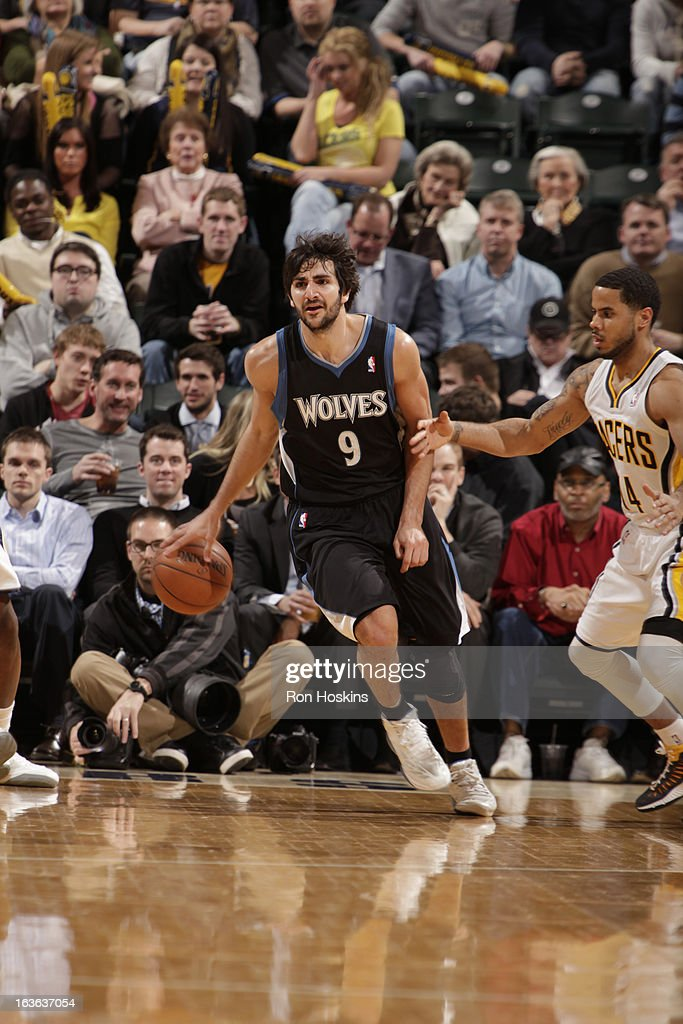 Ricky Rubio #9 of the Minnesota Timberwolves drives up court during the game between the Indiana Pacers and the Minnesota Timberwolves on March 13, 2013 at Bankers Life Fieldhouse in Indianapolis, Indiana.