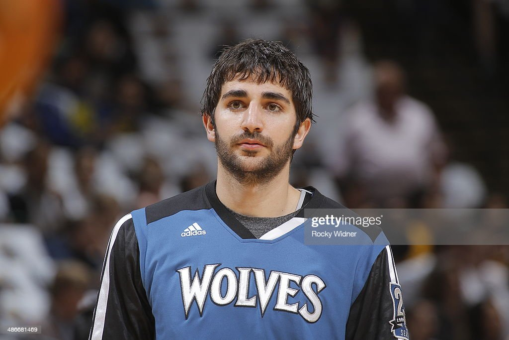 Ricky Rubio of the Minnesota Timberwolves during a game against the Golden State Warriors on April 14 2014 at Oracle Arena in Oakland California NOTE...