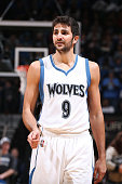 Ricky Rubio of the Minnesota Timberwolves during the game against the Detroit Pistons on October 30 2014 at Target Center in Minneapolis Minnesota...