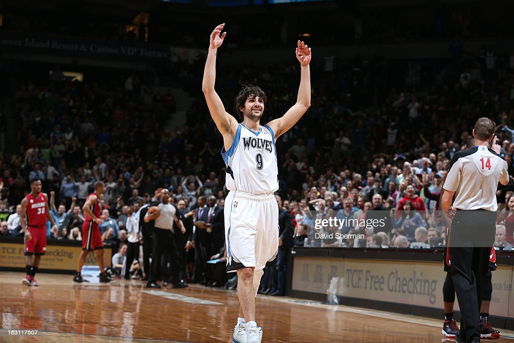Ricky Rubio #9 of the Minnesota Timberwolves gets the crowd pumped up against the Miami Heat during the game on March 4, 2013 at Target Center in Minneapolis, Minnesota.