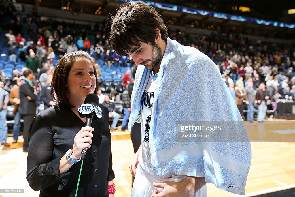 Ricky Rubio #9 of the Minnesota Timberwolves gives an interview after achieving his first NBA triple-double during a game against the San Antonio Spurs on March 12, 2013 at Target Center in Minneapolis, Minnesota.