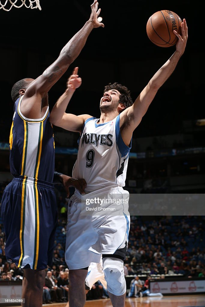 Ricky Rubio #9 of the Minnesota Timberwolves goes to the basket against the Utah Jazz on February 13, 2013 at Target Center in Minneapolis, Minnesota.
