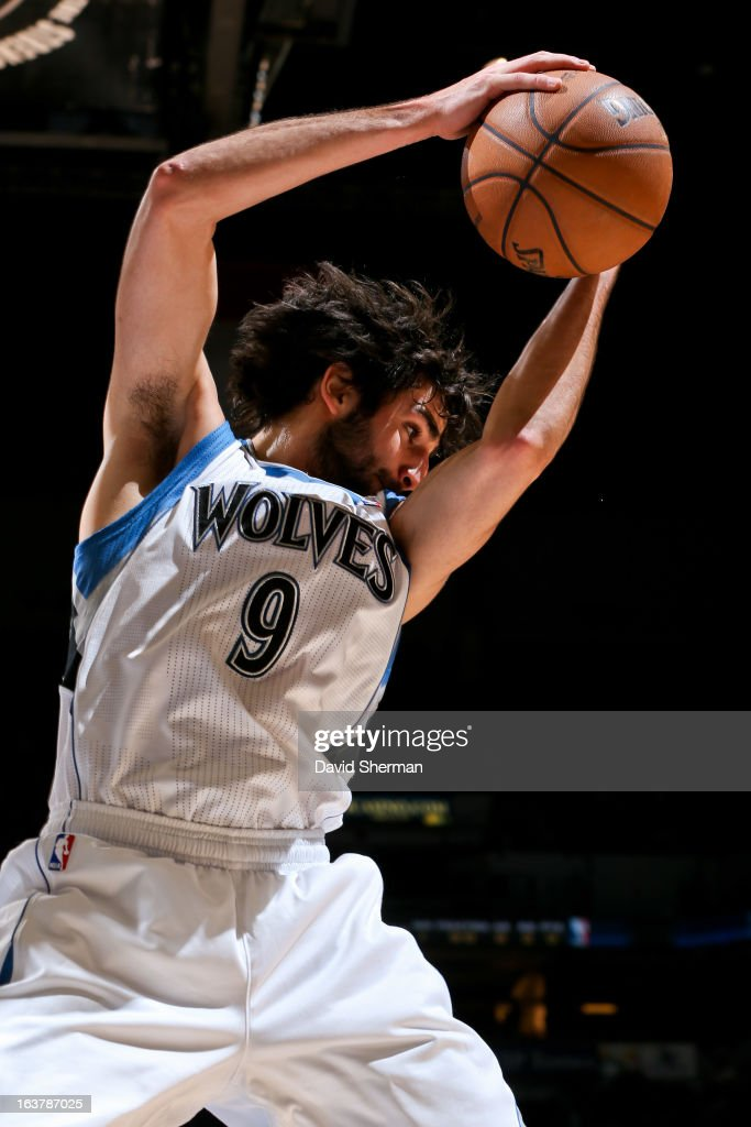 Ricky Rubio #9 of the Minnesota Timberwolves grabs a rebound against the San Antonio Spurs on March 12, 2013 at Target Center in Minneapolis, Minnesota.