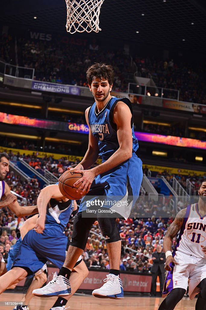 <a gi-track='captionPersonalityLinkClicked' href=/galleries/search?phrase=Ricky+Rubio&family=editorial&specificpeople=4028920 ng-click='$event.stopPropagation()'>Ricky Rubio</a> #9 of the Minnesota Timberwolves grabs a rebound against the Phoenix Suns on March 22, 2013 at U.S. Airways Center in Phoenix, Arizona.