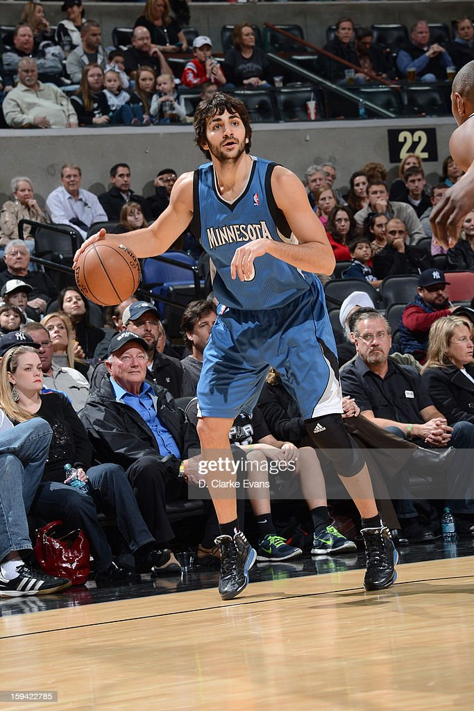 Ricky Rubio #9 of the Minnesota Timberwolves handles the ball against the San Antonio Spurs on January 13, 2013 at the AT&T Center in San Antonio, Texas.
